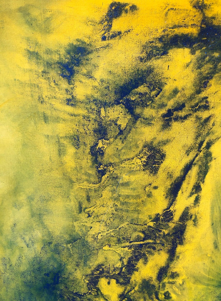 Contemporary art - 21st century painting on linen canvas - Blue, yellow, waves - Abstract Painting by Volodymyr Zayichenko