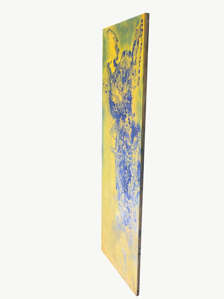 Contemporary art - 21st century painting on linen canvas - Blue, yellow, waves For Sale 2