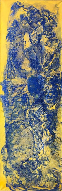 Contemporary art - 21st century painting on linen canvas - Blue, yellow, waves