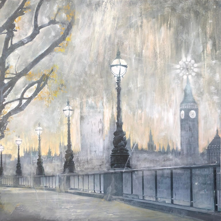 Volodymyr Zayichenko Landscape Painting - Contemporary painting on canvas London cityscape - Big Ben, Thames river, bridge