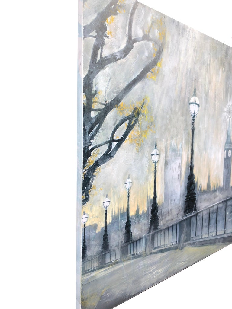 Contemporary painting on canvas London cityscape - Big Ben, Thames river, bridge - Abstract Painting by Volodymyr Zayichenko