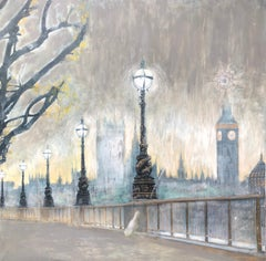 Contemporary painting on canvas London cityscape - Big Ben, Thames river, bridge