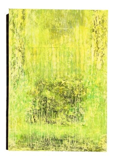 FRESH - Contemporary 21st century oil painting on canvas - yellow, white, green