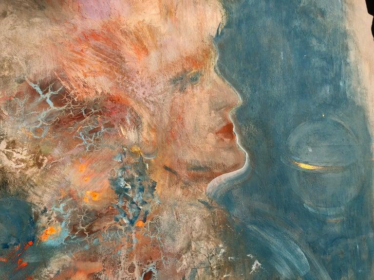 Untitled portrait painting on canvas 1x1m by Volodymyr Zayichenko 2018
