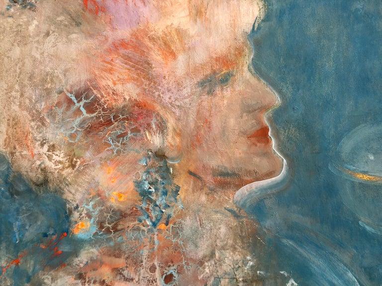 Volodymyr Zayichenko Portrait Painting - HONOR portrait painting on canvas 1x1m by Vova Zayichenko