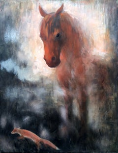 Horse and fox painting on canvas by Volodymyr Zayichenko