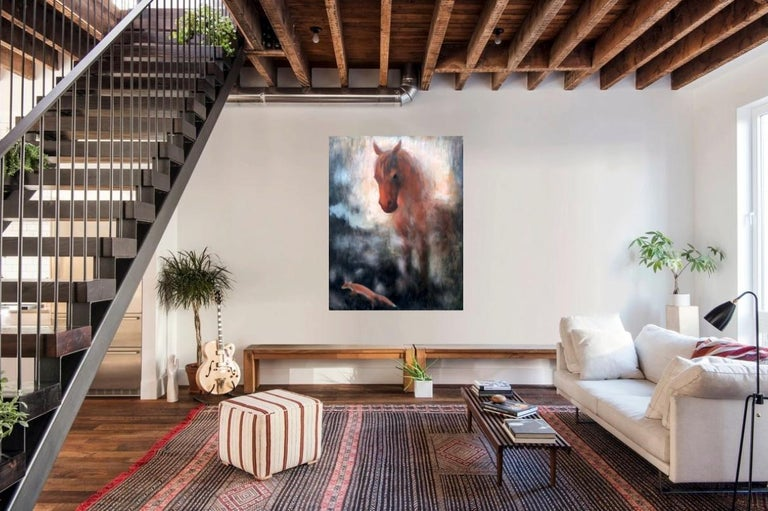 Horse and fox painting on canvas by Volodymyr Zayichenko 7