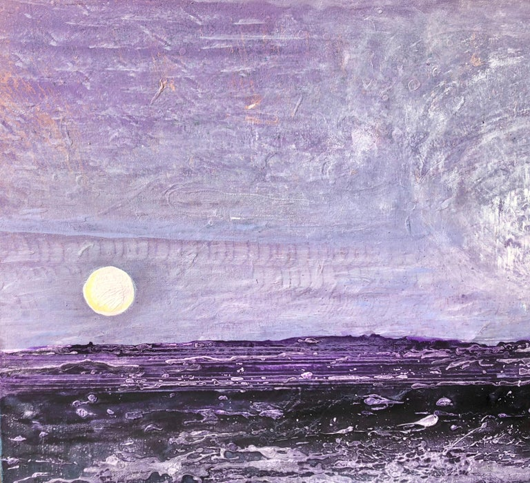 Painting on canvas - Abstract landscape, 21st century, Oil and acrylic on canvas - Purple Abstract Painting by Volodymyr Zayichenko