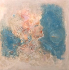 Portrait oil painting in abstract space, art, globe, sign, watercolour lightness