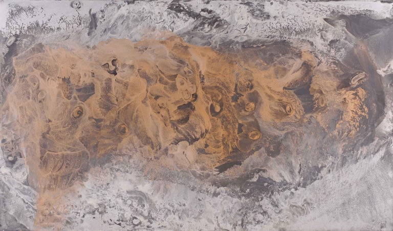 Volodymyr Zayichenko Abstract Painting - Transparence Series - contemporary gold silver bronze painting on glass