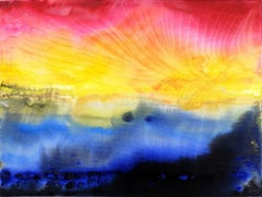 Yellow blue red abstract art landscape painting on canvas triptych 30x40cm