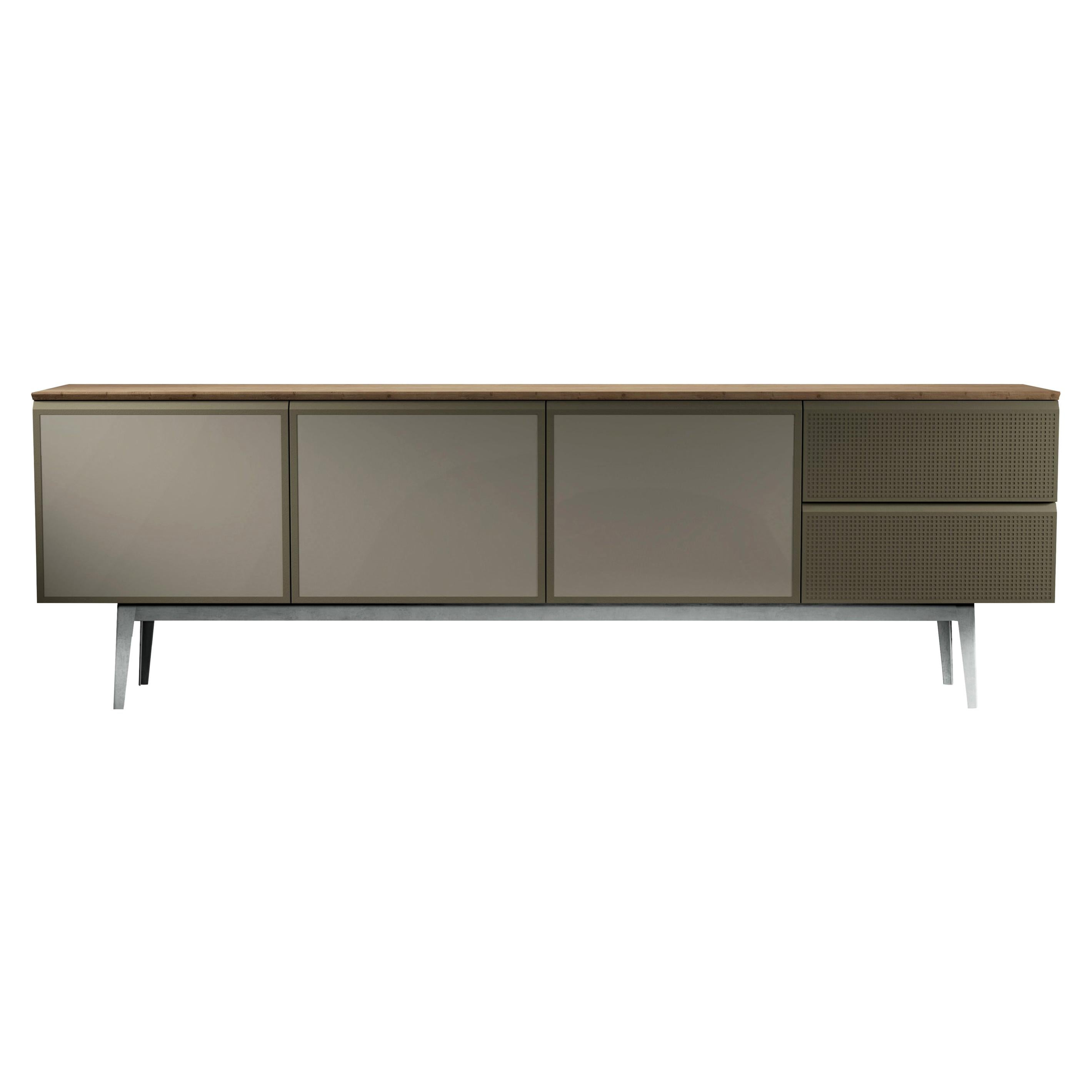 """""""Voltaire"""" Oak Veneered Top & Three Lacquered Doors Cabinet by Moroso for Diesel"""