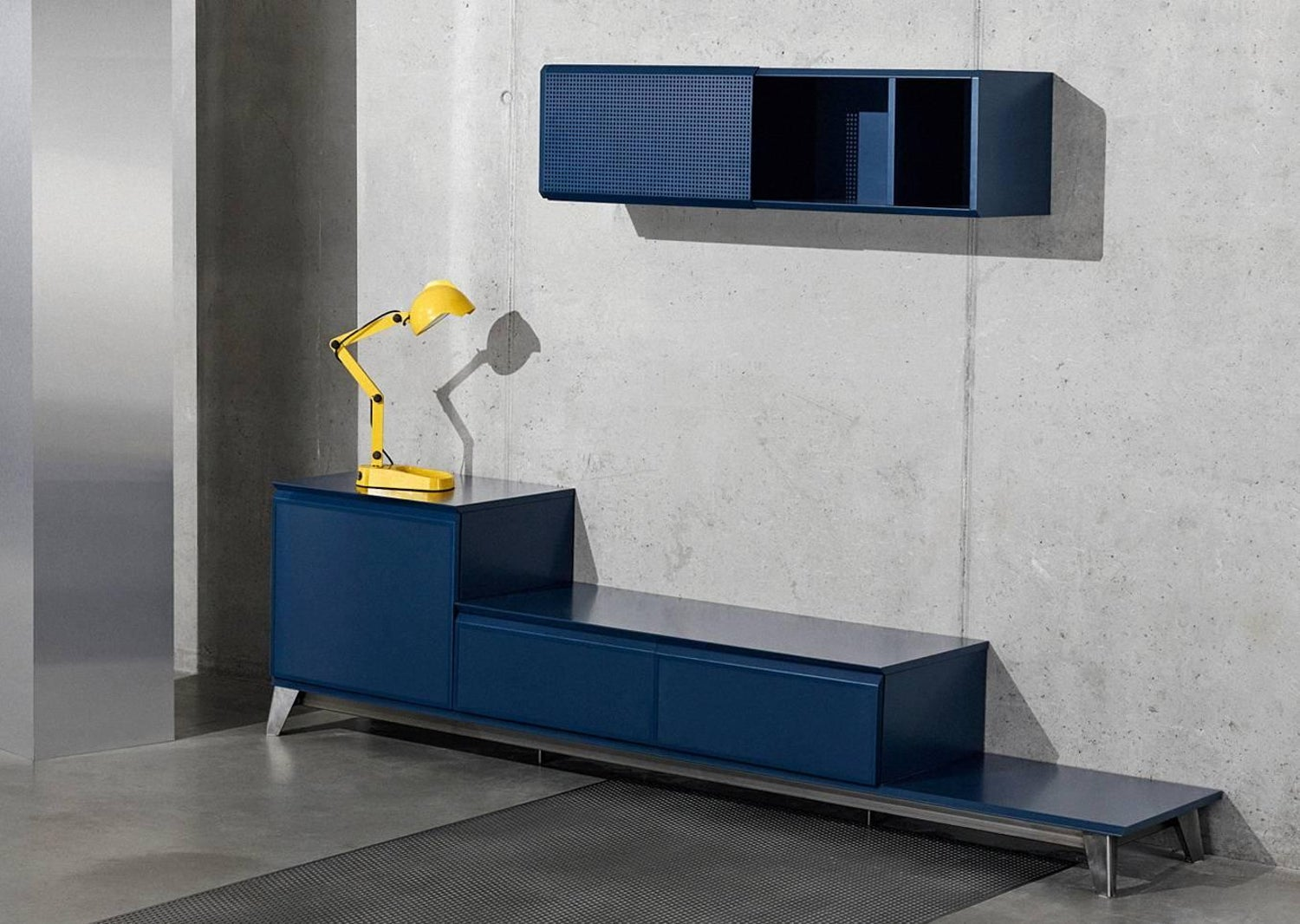 Voltaire Wall Cabinet In Plywood With Metal Sliding Door By Moroso