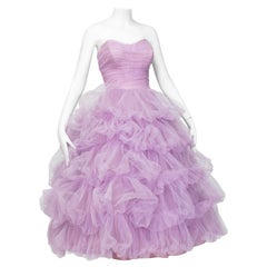 Voluminous Strapless Lavender Tulle Balloon-Ruffle Ballerina Ball Gown– S, 1950s