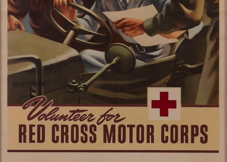Presented is an original WWII poster designed by Whitman. Showing a woman behind the wheel of a vehicle speaking to two airmen, this poster places the female Red Cross volunteer in the middle of the planning. In bold red letters, it urges the viewer