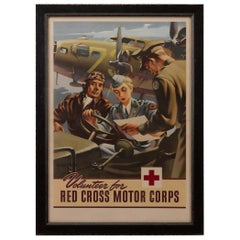"""Volunteer for the Red Cross Motor Corps"" Vintage WWII Recruitment Poster"