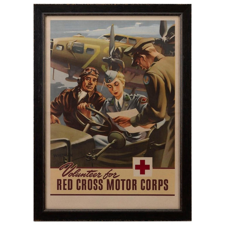 """""""Volunteer for the Red Cross Motor Corps"""" Vintage WWII Recruitment Poster For Sale"""
