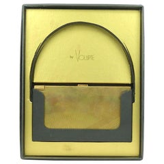 Volupte Gold Complete Compact Music Box in Original Box and Carrier-c. 1940