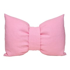 Voluptuous Large Pink Bow Pillow Vintage Irish Linen Limited Edition