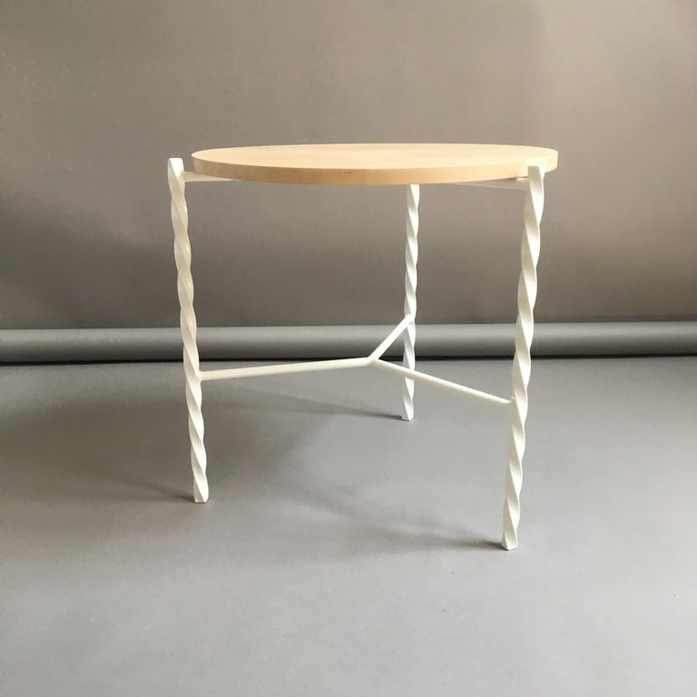 Von Iron Side Table from Souda, White with Maple Top, Factory 2nd For Sale 4