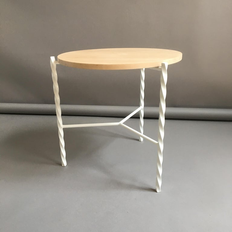 Von Iron Side Table from Souda, White with Maple Top, Factory 2nd For Sale 5
