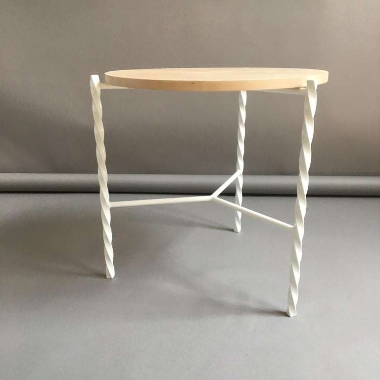 American Von Iron Side Table from Souda, White with Maple Top, Factory 2nd For Sale