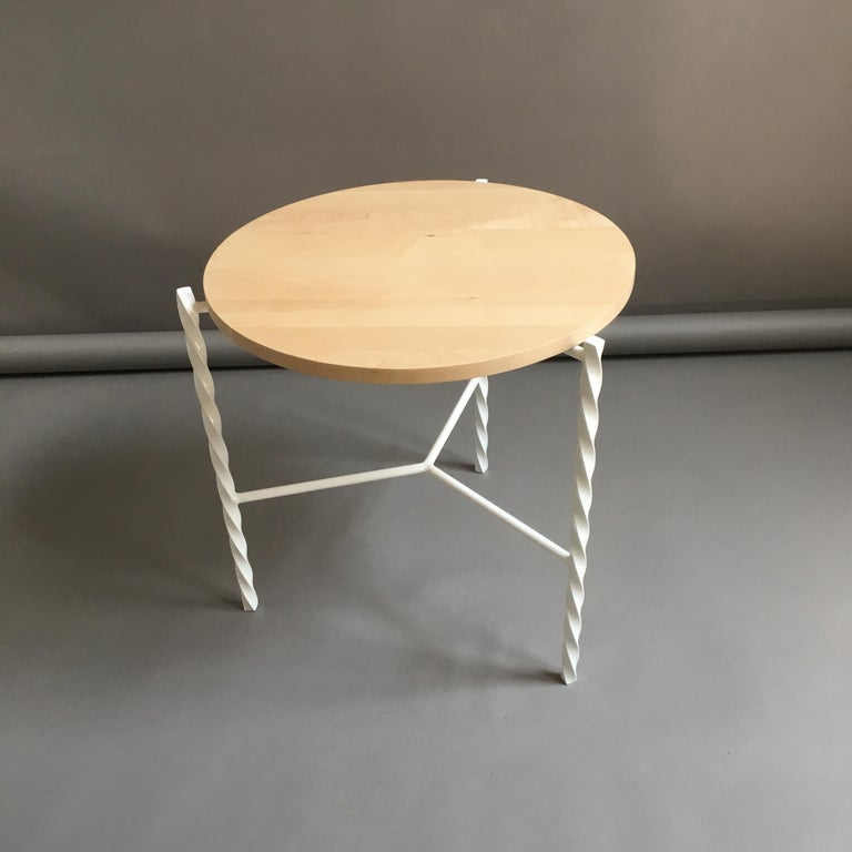 Von Iron Side Table from Souda, White with Maple Top, Factory 2nd In Good Condition For Sale In Brooklyn, NY