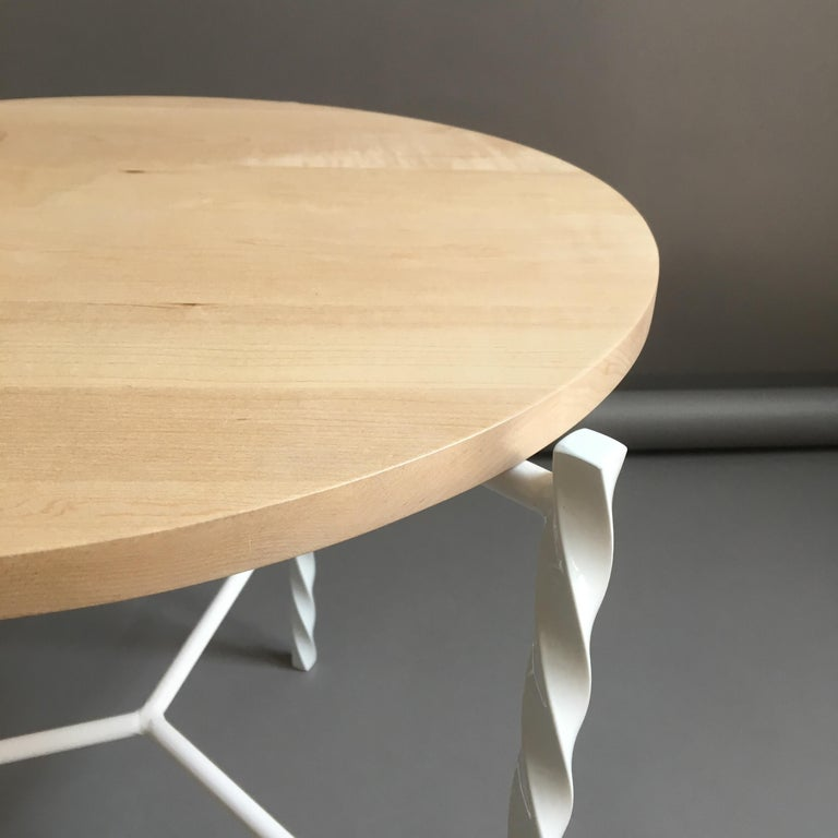 2010s Von Iron Side Table from Souda, White with Maple Top, Factory 2nd For Sale