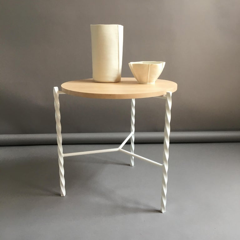 Von Iron Side Table from Souda, White with Maple Top, Factory 2nd For Sale 2