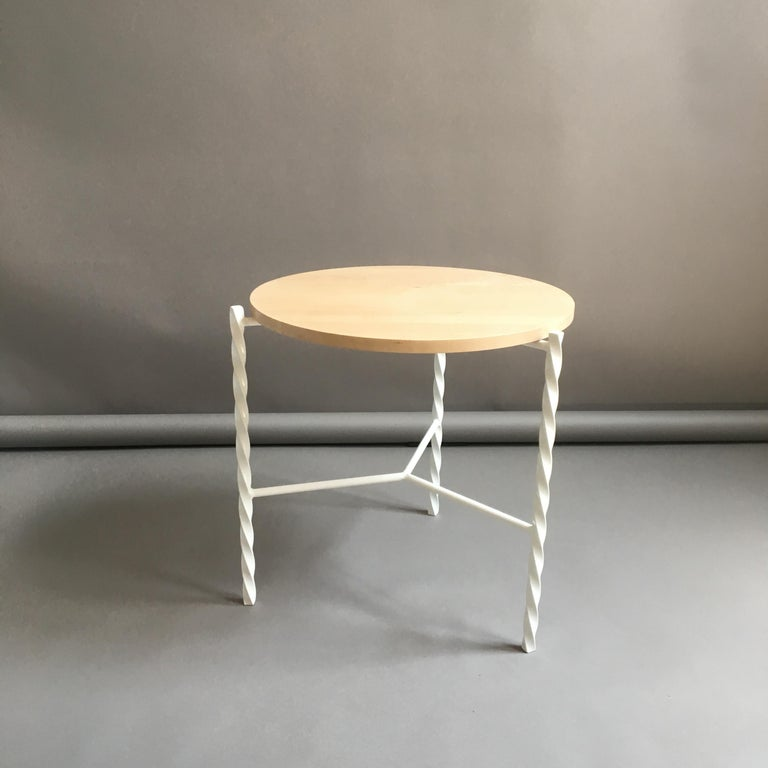 Von Iron Side Table from Souda, White with Maple Top, Factory 2nd For Sale 3