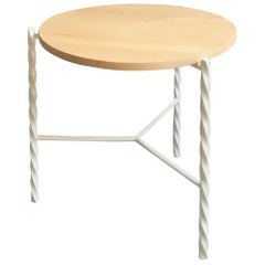 Von Iron Side Table from Souda, White with Maple Top, Factory 2nd