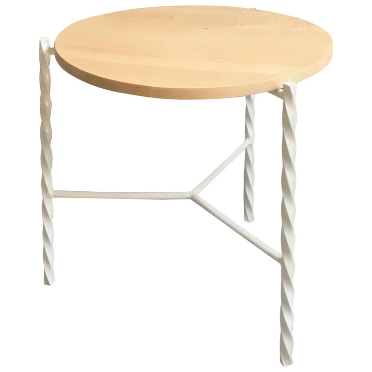 Von Iron Side Table from Souda, White with Maple Top, Factory 2nd For Sale