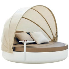 Vondom Vela Round Daybed with Reclining Backrest and Folding Canopy