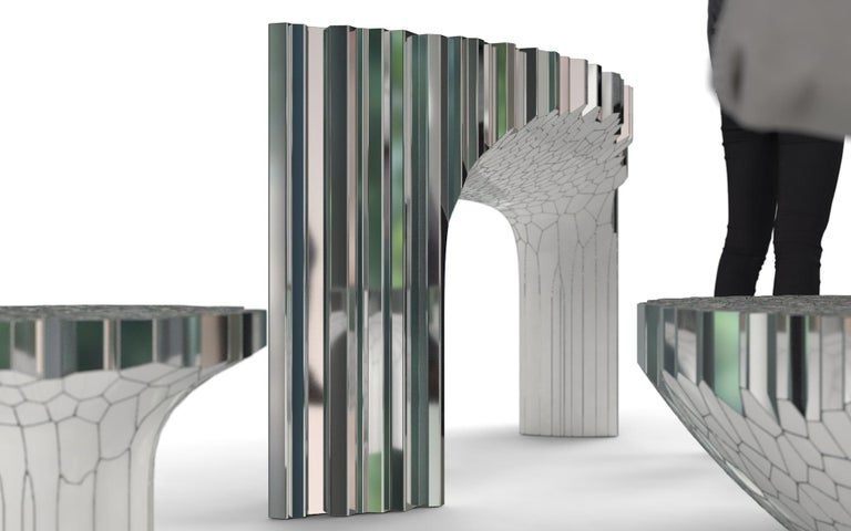 Chinese Voronoi Console Table by Michael Young Polished Stainless Steel and Enamel For Sale