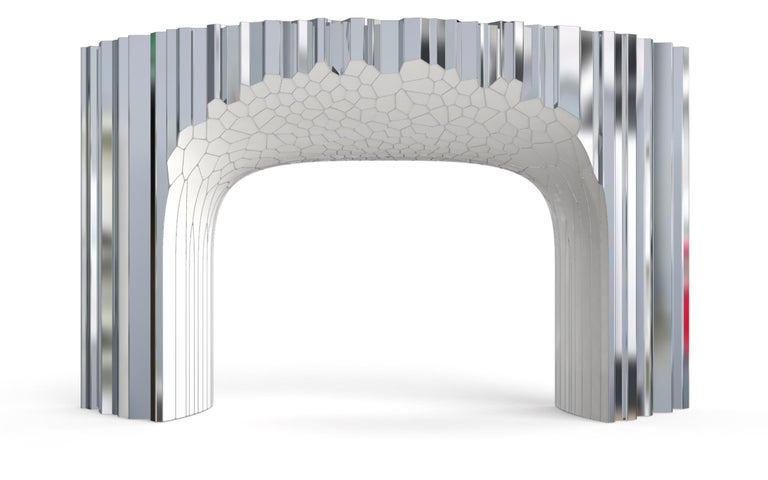 Voronoi Console Table by Michael Young Polished Stainless Steel and Enamel In New Condition For Sale In Los Angeles, CA