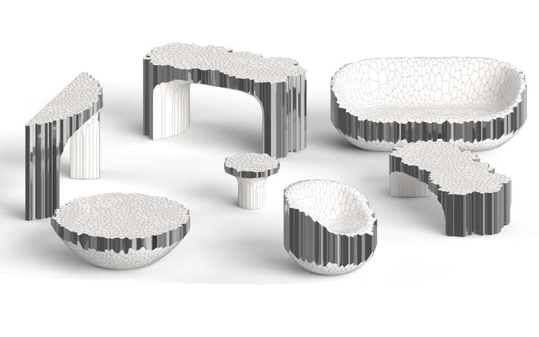 Contemporary Voronoi Console Table by Michael Young Polished Stainless Steel and Enamel For Sale