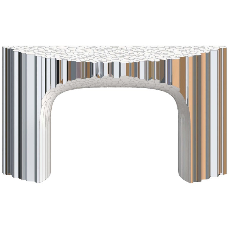 Voronoi Console Table by Michael Young Polished Stainless Steel and Enamel For Sale