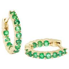 Vortex Mini Emerald Hoop Earrings