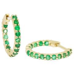 Vortex Petite Emerald Hoop Earrings