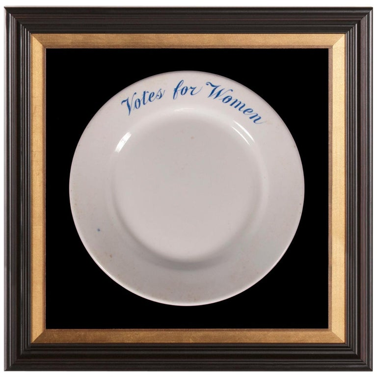 Ironstone Suffragette Plate w/ Votes for Women Text, Made for Alva Belmont, 1914 For Sale