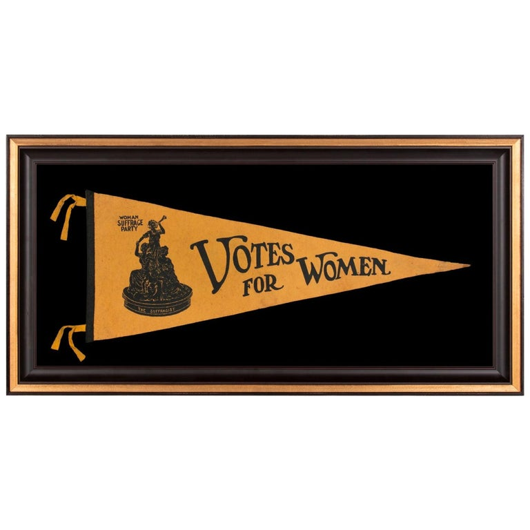 """""""Votes for Women"""" Pennant with Image of Statuette """"Suffragist"""" by Ella Buchanan"""
