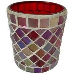 Votive Candleholder with Mirrored Glass and Red Moorish Design