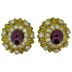 Vourakis 18 Carat Yellow Gold Ruby and Diamond Earrings