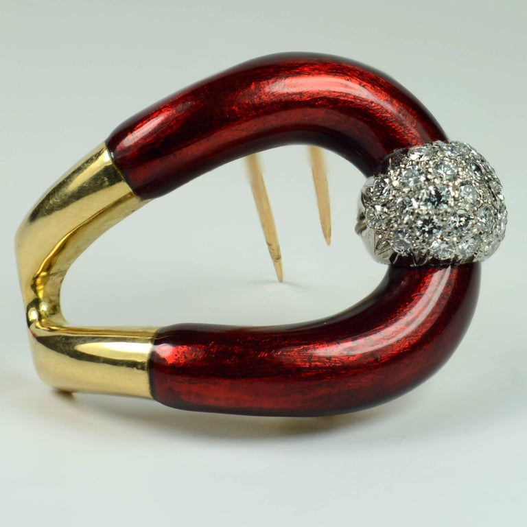 Vourakis Red Enamel Diamond Gold Buckle Brooch In Good Condition For Sale In London, GB