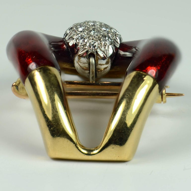 Vourakis Red Enamel Diamond Gold Buckle Brooch For Sale 3