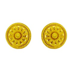 Vourakis Round Yellow Gold Non Pierced Clip Earrings