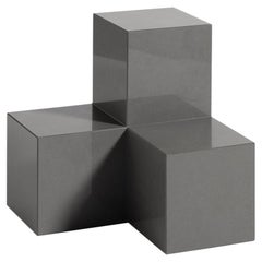 Voxel L, 21st Century Modern Quartz Stone Coffee and Side Table in Graphite