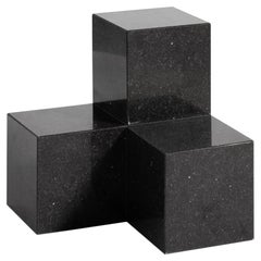 Voxel L, 21st Century Modern Quartz Stone Coffee and Side Table in Limestone