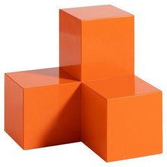 Voxel L, 21st Century Modern Quartz Stone Coffee and Side Table in Orange