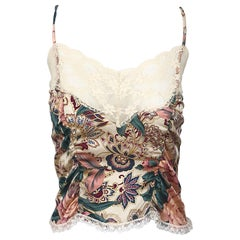 Voyage 1990s Silk Lace Sz 4 Paisley Flower Print Vintage 90s Crop Top Shirt